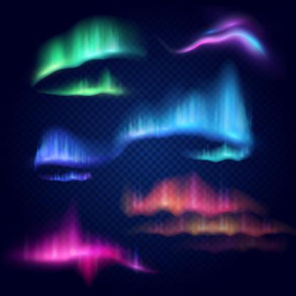 Realistic 3d northern lights, aurora borealis, vector illustration isolated on transparent background. Amazing polar lights on night dark sky, natural phenomena.