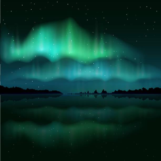 illustrazioni stock, clip art, cartoni animati e icone di tendenza di northern lights, aurora borealis, vector realistic illustration - fiordi