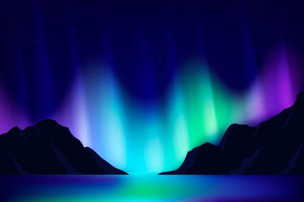 bildbanksillustrationer, clip art samt tecknat material och ikoner med norrskenet bakgrund. - northern lights