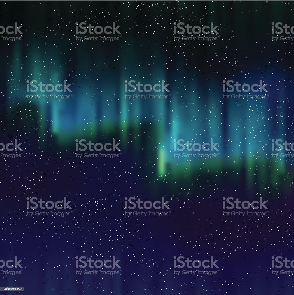 Luzes do norte de fundo com estrelas - ilustração de arte em vetor