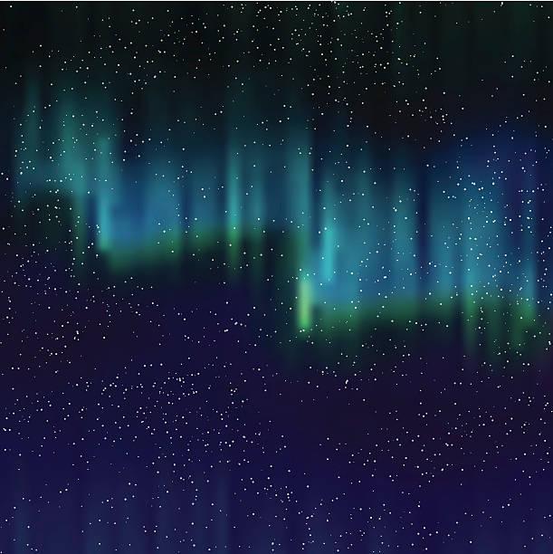 illustrazioni stock, clip art, cartoni animati e icone di tendenza di northern lights sfondo con stelle - aurora boreale