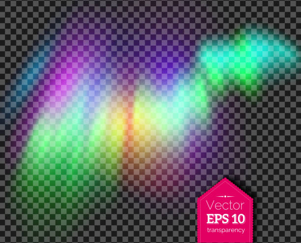 Aurora Boreal nas cores verdes e violetas - ilustração de arte em vetor