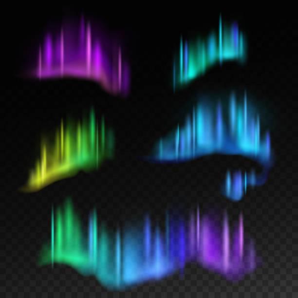 bildbanksillustrationer, clip art samt tecknat material och ikoner med norrsken. isolerade aurora borealis, ljusa ränder i natthimlen vector set - northern lights