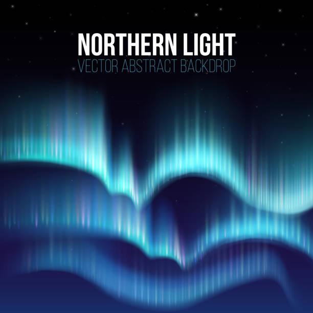 Aurora boreal, nunavut, Canadá, Polo Ártico noite abstrato - ilustração de arte em vetor