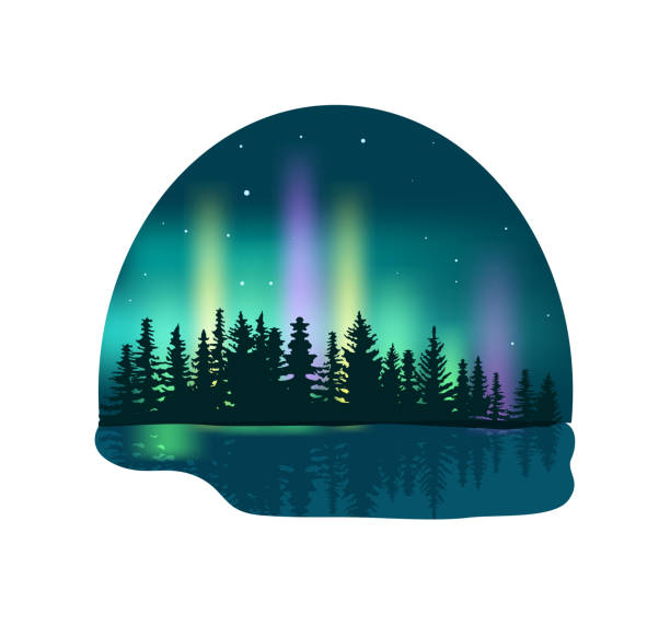illustrazioni stock, clip art, cartoni animati e icone di tendenza di northern lights over deep forest icon - aurora boreale