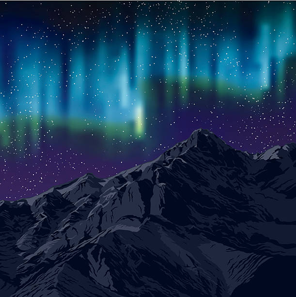 bildbanksillustrationer, clip art samt tecknat material och ikoner med northern lights over mountains background with stars - northern lights