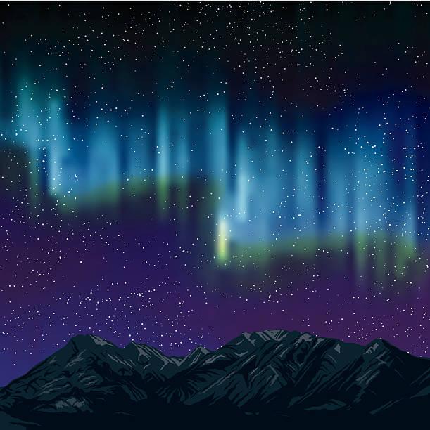Northern Lights nas montanhas fundo com estrelas - ilustração de arte em vetor