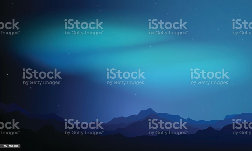 Northern Lights vector art illustration