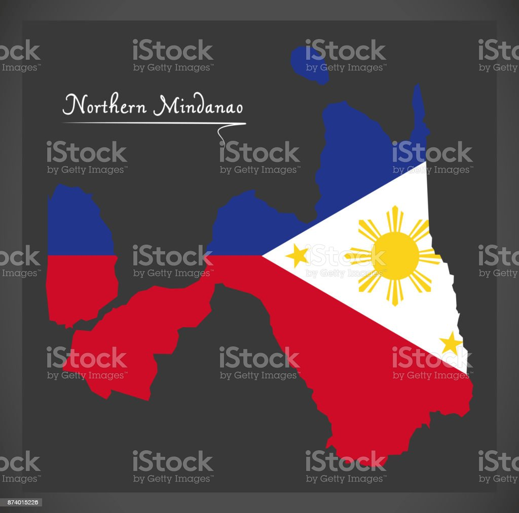 Northern Mindanao map of the Philippines with Philippine national flag illustration vector art illustration