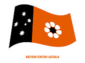 istock Northern Territory (NT) Flag Waving Illustration on White Background. Territory Flag of Australia 1181227672
