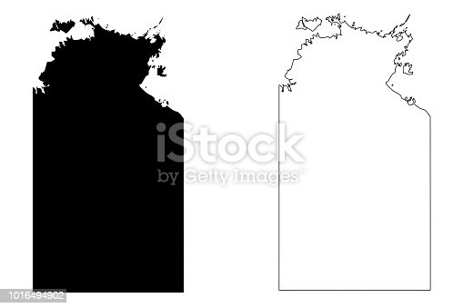 Northern Territory (Australian states and territories, NT) map vector illustration, scribble sketch Northern Territory map