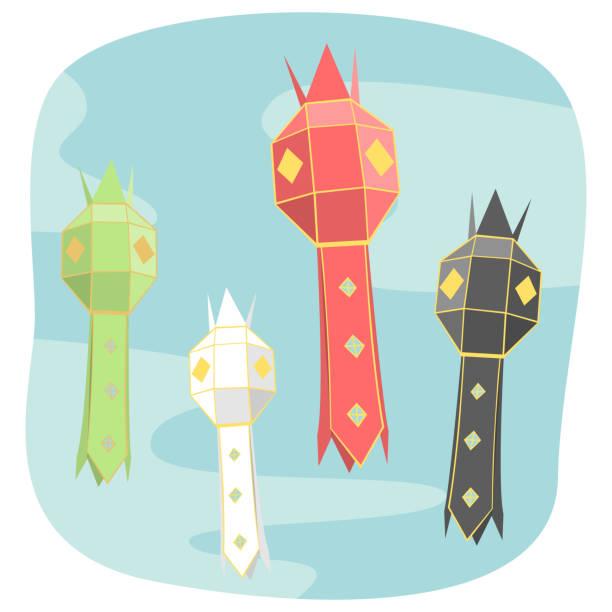 bildbanksillustrationer, clip art samt tecknat material och ikoner med norra thailändska stil papper lampa belysning grafisk vector - northern lights