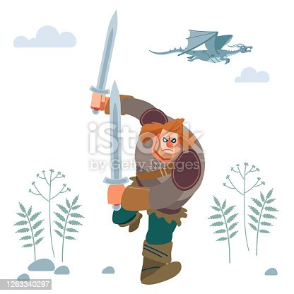 Northerner. Medieval Viking Warrior in armor attacks with two swords. Vector isolated on white background with dragon. Flat style.