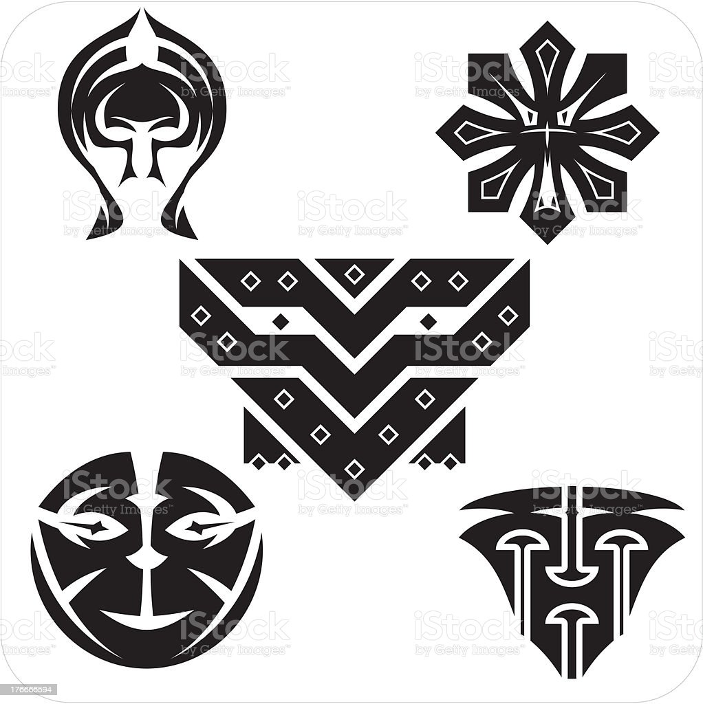 Northwest Art - masks. Vector set. royalty-free northwest art masks vector set stock vector art & more images of abstract