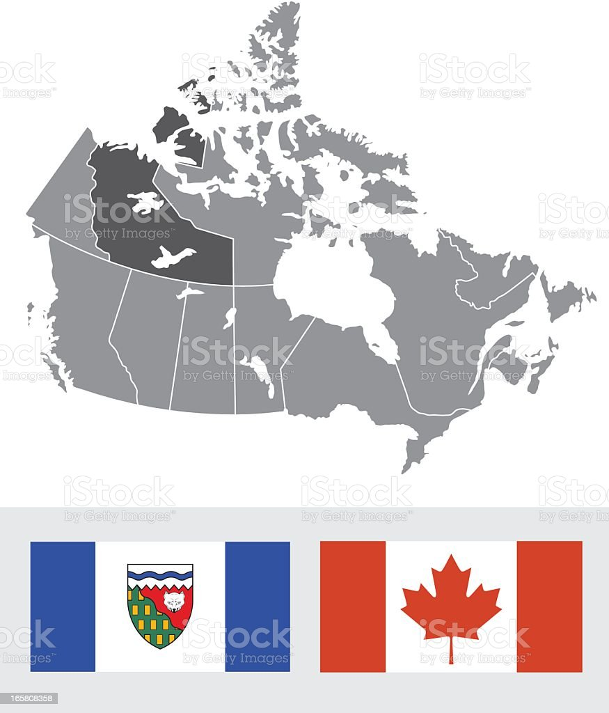 northwest territories canada map and flag royalty free stock vector art