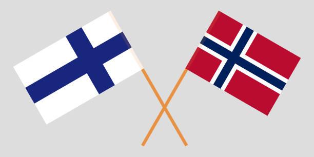 ilustraciones, imágenes clip art, dibujos animados e iconos de stock de noruega y finlandia. las banderas de noruega y finlandia. oficial proporción. colores correctos. vector de - bandera finlandesa