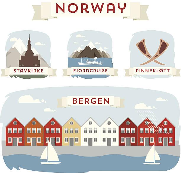 illustrazioni stock, clip art, cartoni animati e icone di tendenza di norvegia banner - fiordi