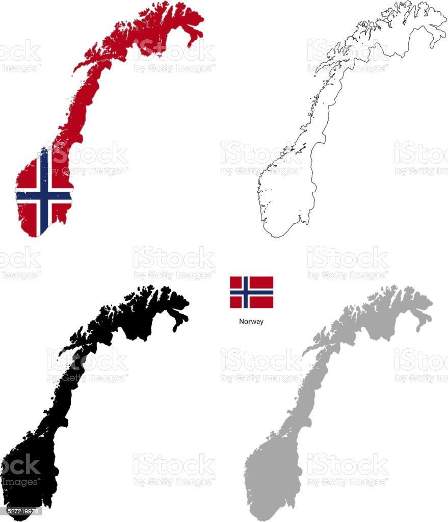 Norway Country Black Silhouette And With Flag On Background Stock - Norway map free