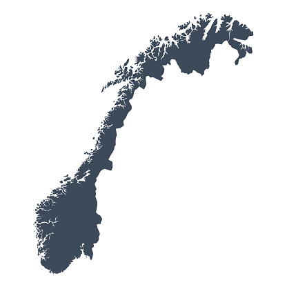 A graphic illustrated vector image showing the outline of the country Norway. The outline of the country is filled with a dark navy blue colour and is on a plain white background. The border of the country is a detailed path.