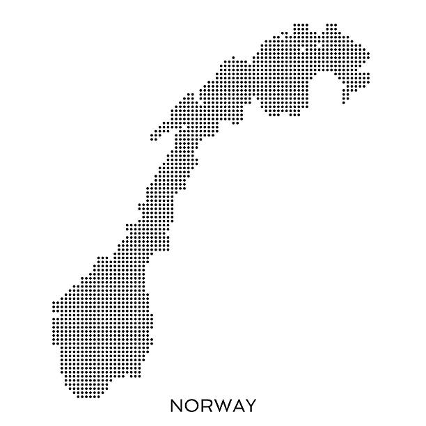 Norway dot halftone pattern map Norway halftone pattern dot map made from a grid of small circles. Dots are black on a plain white background norway stock illustrations