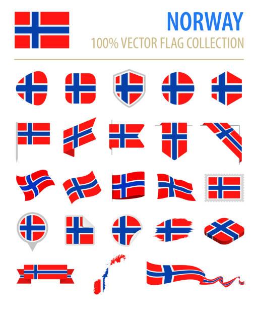 stockillustraties, clipart, cartoons en iconen met noorwegen - vlag platte vector pictogramserie - noorse vlag