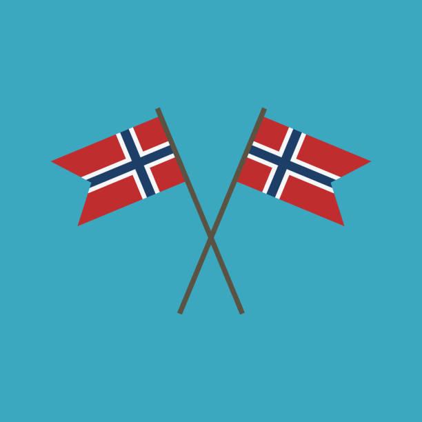 stockillustraties, clipart, cartoons en iconen met het pictogram van de vlag van noorwegen in platte ontwerp - noorse vlag