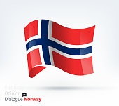 Vector waving flag illustration of Norway for international dialogue and conflict management.
