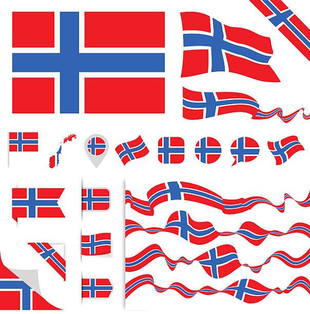 stockillustraties, clipart, cartoons en iconen met norway flag set - noorse vlag