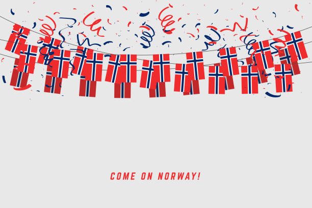 Norway garland flag with confetti on gray background, Hang bunting for Norway celebration template banner. Norway garland flag with confetti on gray background, Hang bunting for Norway celebration template banner. norway stock illustrations