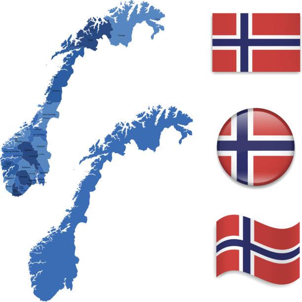 illustrazioni stock, clip art, cartoni animati e icone di tendenza di norvegia mappa e bandiera collezione - fiordi