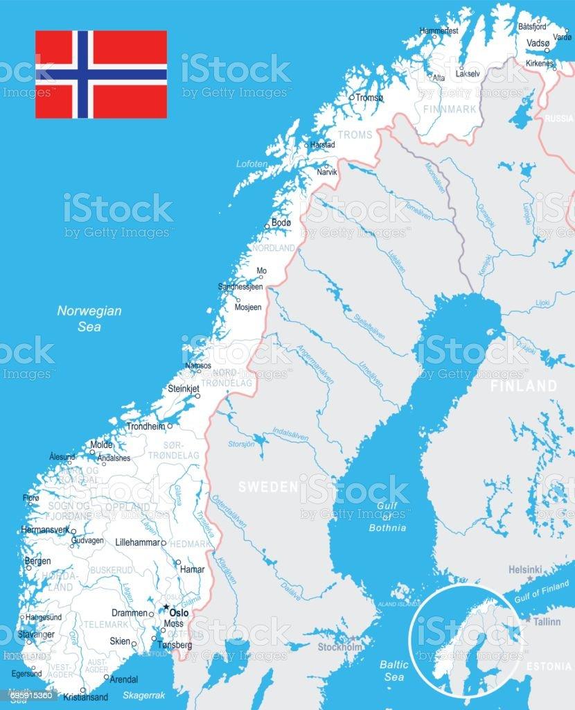 Karte Norwegen.Norwegen Karte Und Flagge Illustration Stock Vektor Art Und