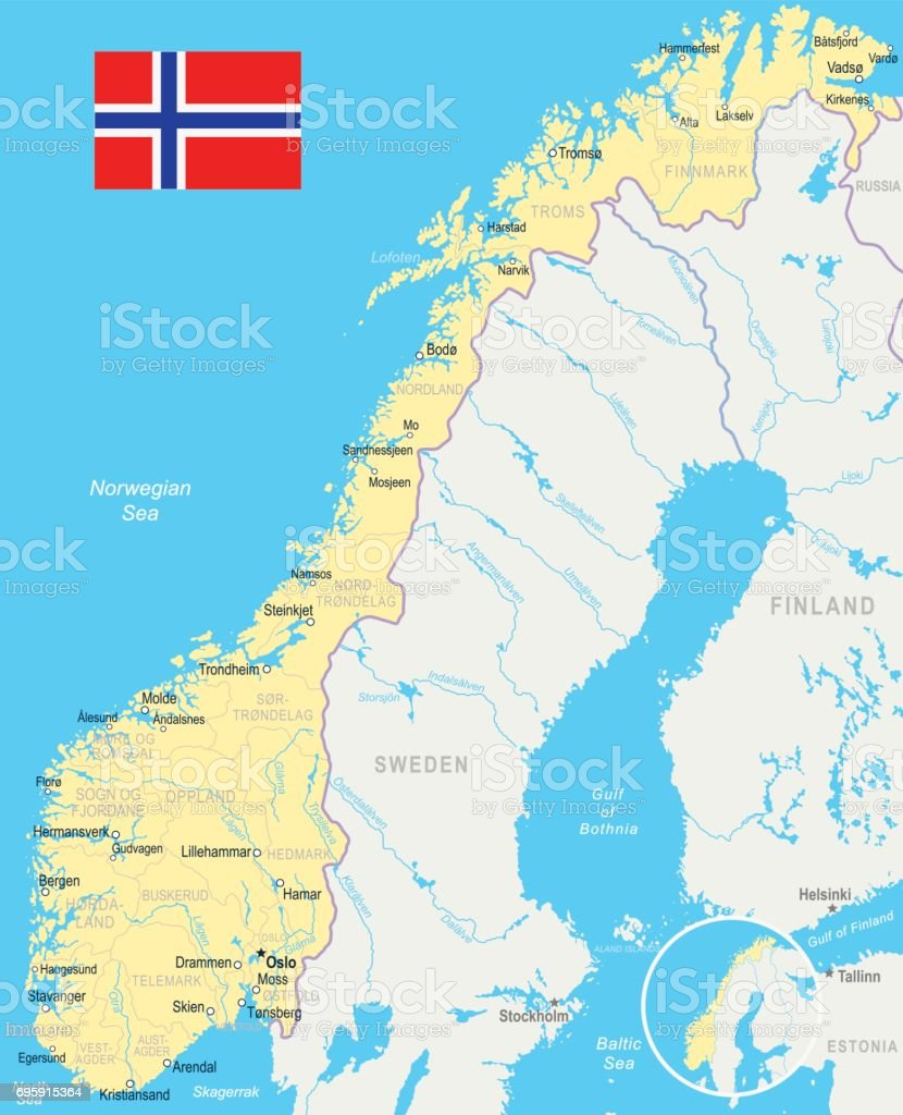 Karta Norge Stavanger.Norway Map And Flag A Illustration Stock Vector Art More Images Of