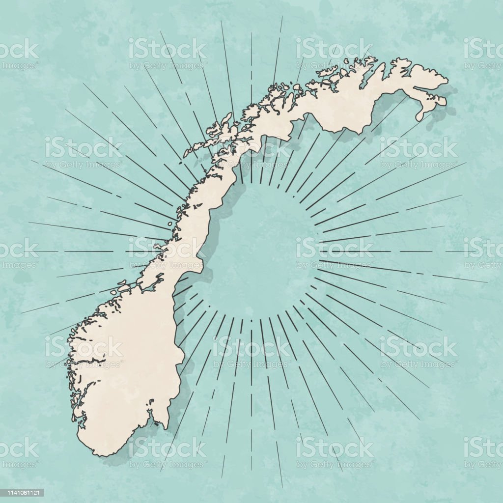 Map of Norway in a trendy vintage style. Beautiful retro illustration...