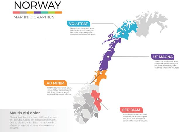 Norway map infographics vector template with regions and pointer marks Vector Illustration of regional maps with isolated colors for education, info-graphics and data purpose norway stock illustrations
