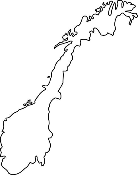 Norway map of black contour curves of vector illustration Norway map of black contour curves of vector illustration norway stock illustrations
