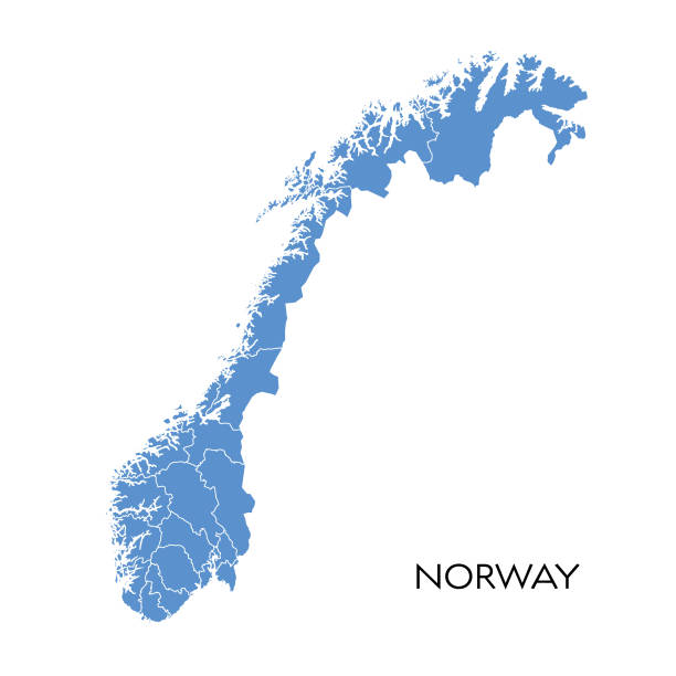 Norway map Vector illustration of the map of Norway norway stock illustrations