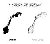 Norway map. Blank vector map of the Country with regions. Borders of Norway for your infographic. Vector illustration.