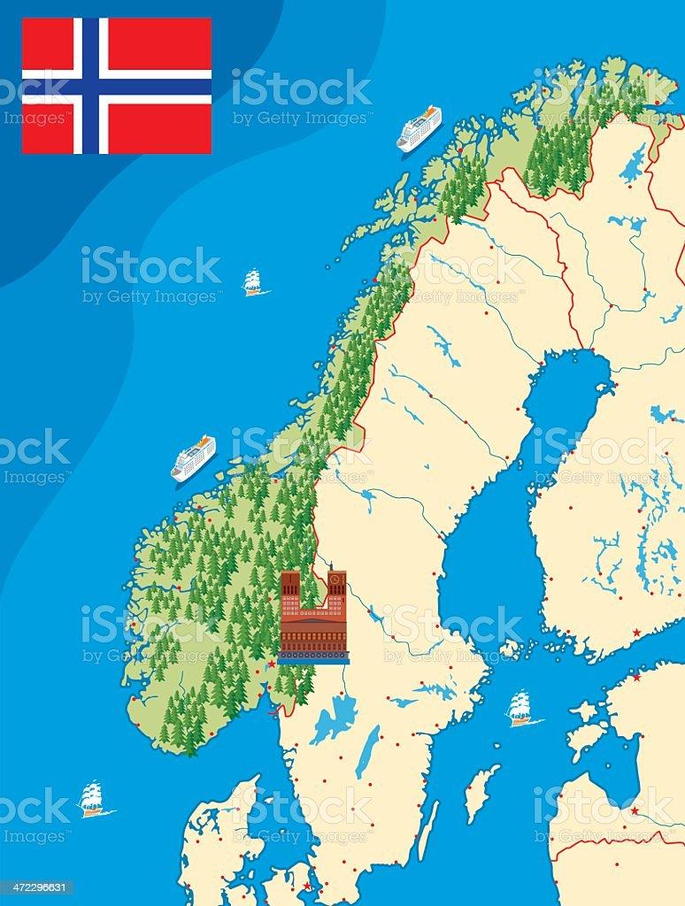Norway Map Stock Vector Art IStock - Norway map hammerfest
