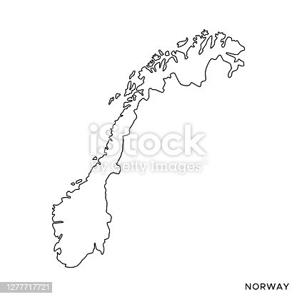 istock Norway Map Vector Stock Illustration Design Template. Editable Stroke. 1277717721
