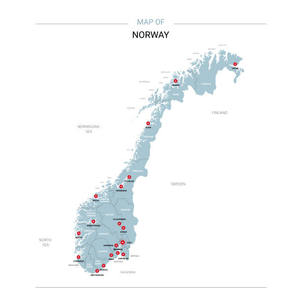 Norway map vector with red pin. Norway vector map. Editable template with regions, cities, red pins and blue surface on white background. norway stock illustrations