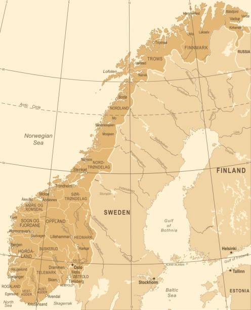 norwegen karte - vintage vektor-illustration - ostsee stock-grafiken, -clipart, -cartoons und -symbole
