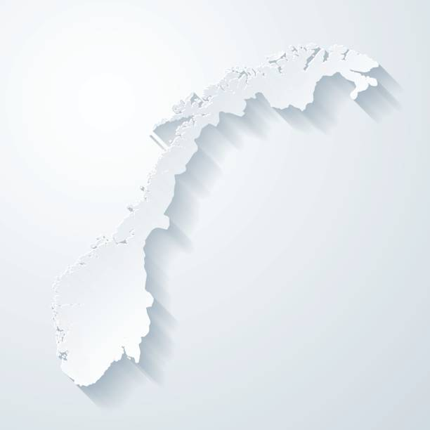 Norway map with paper cut effect on blank background Map of Norway with a realistic paper cut effect isolated on white background. Vector Illustration (EPS10, well layered and grouped). Easy to edit, manipulate, resize or colorize. Please do not hesitate to contact me if you have any questions, or need to customise the illustration. http://www.istockphoto.com/bgblue/ norway stock illustrations