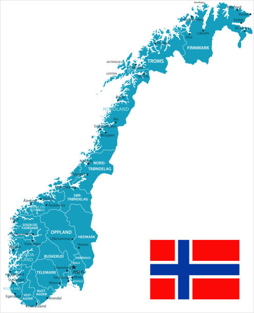 11 - Norway - Murena Isolated 10 Map of Norway - Vector illustration norway stock illustrations