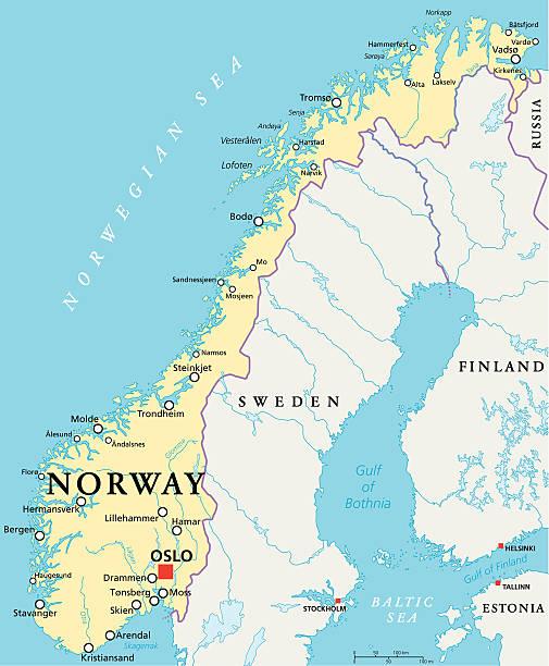 politische karte von norwegen - ostsee stock-grafiken, -clipart, -cartoons und -symbole