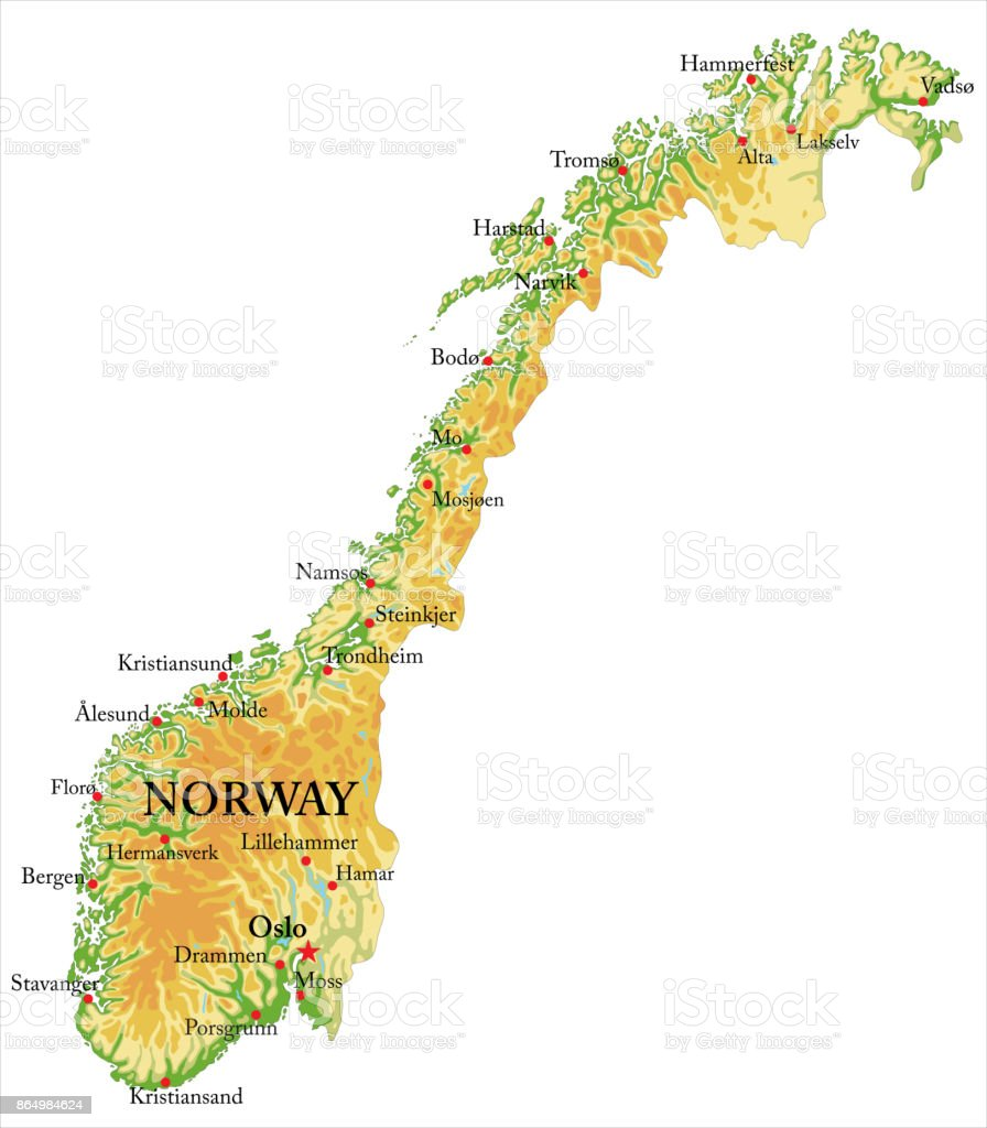 Norway Relief Map Stock Vector Art More Images of Alesund
