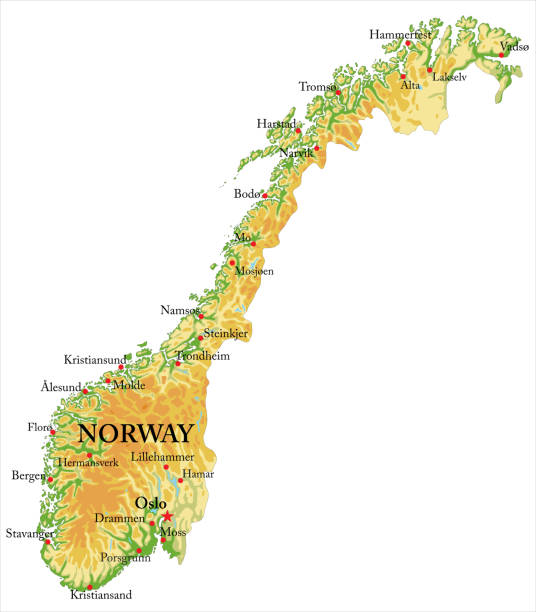 Norway Relief map Highly detailed physical map of Norway,in vector format,with all the relief forms,regions and big cities. norway stock illustrations