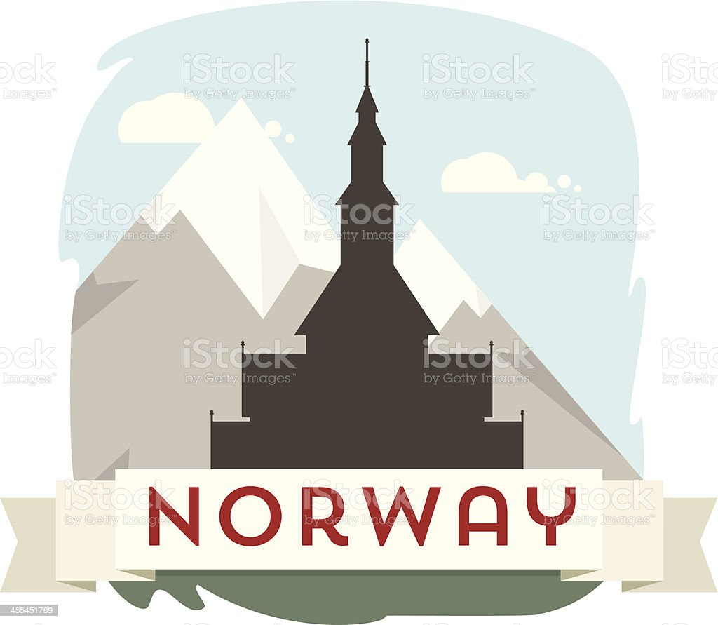 Norway stave church royalty-free stock vector art