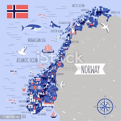 Norway travel cartoon vector map, norwegian landmark Brygge, Lindesnes Lighthouse, Narvik, Stavanger Cathedral, Akershus Fortress, Cathedral of the Northern Lights, Scandinavia,decorative wild animal