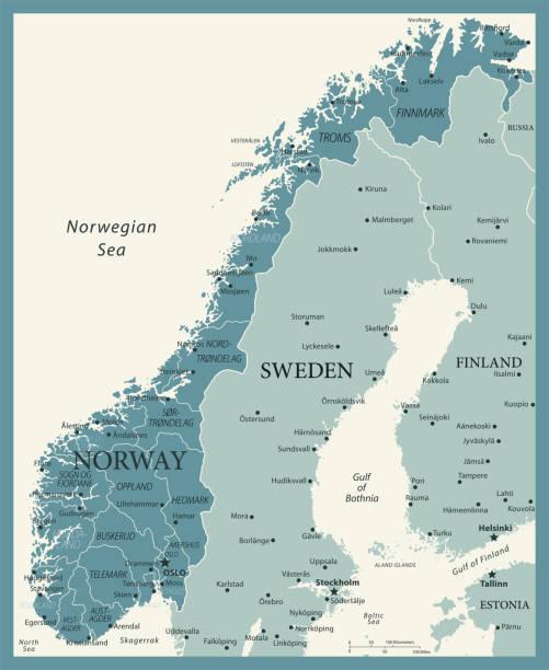 bildbanksillustrationer, clip art samt tecknat material och ikoner med 23 - norge - vintage murena 10 - sweden map