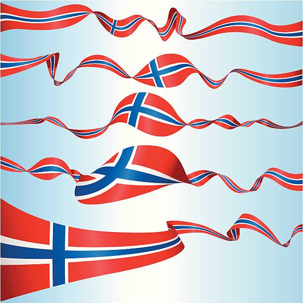 stockillustraties, clipart, cartoons en iconen met norwegian banners - noorse vlag
